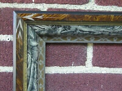 Antique Deep Eastlake Carved Faux Bois Tortoise Victorian Picture Frame 8 x 10