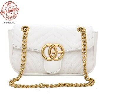 445025dd AUTHENTIC GUCCI MARMONT Leather Black Wallet on Chain Handbag ...