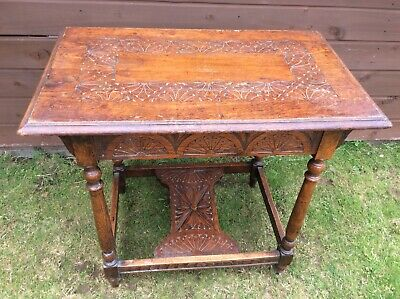 Antique Vintage Arts and Crafts Side Table needs small amount of Restoration