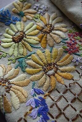 4 panels vintage hand embroidery - poppies, delphiniums, sunflowers etc