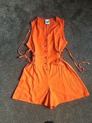 Vintage Orange Playsuit, Corset Tie Side, Summer Playsuit Shorts, Romper