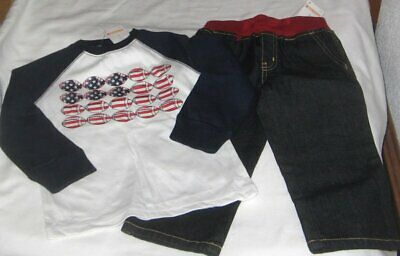 NWT Boys 2T GYMBOREE 2 Pc Set Outfit Jeans and Long Sleeve Top FOOTBALL New