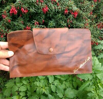 Vintage 1930s 40s - Handkerchief Wallet - Marbled Leather