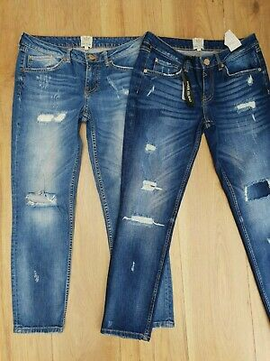 """Two Pairs Of River Island """"Ripped"""" Jeans == Uk 10 Reg == One Pair Is Bnwt"""