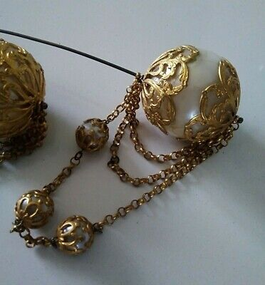 Rare Pair of Early Victorian Hat Pins Ornate Pearl & Gilt  mid 19thC ?