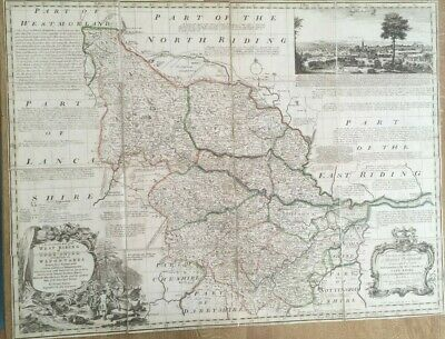 Antique Map Yorkshire West Riding Divided Into Wapontakes Inc View Of Leeds 1760