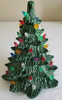 Vintage Ceramic Christmas Tree 8 Inch Light Up Signed