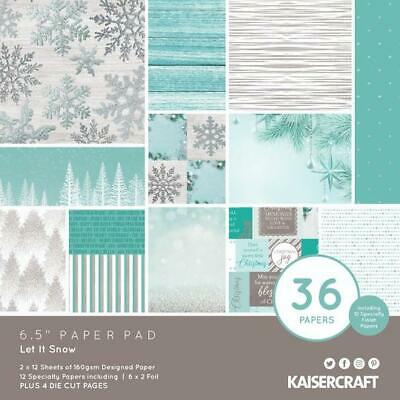 "KAISERCRAFT Scrapbooking 6.5"" Paper Pad - LET IT SNOW Christmas Snowflake Blue"