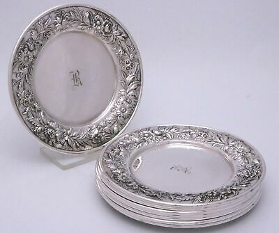 S. Kirk & Son Repousse Sterling Silver Bread Dessert Plates Set of Eight
