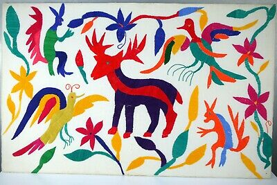 Rare Authentic VTG Embroidered OTOMI Animal MEXICO Color TEXTILE Art TOTEM 17x27