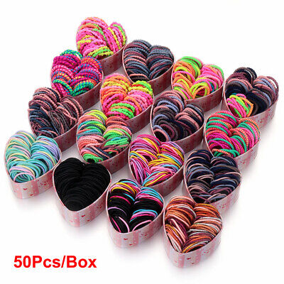 50Pcs/Box Girls Elastic Rubber Hair Bands Ponytail Holder Scrunchies Hair Ropes