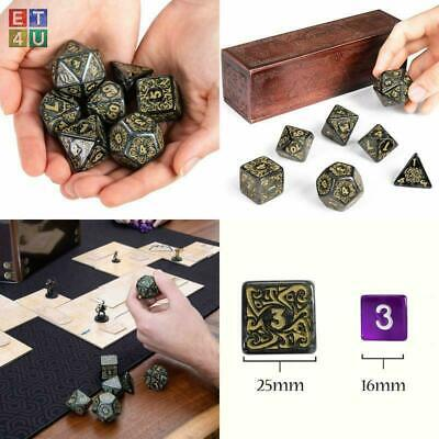 Awesome Titan Dice 25mm Giant Polyhedral 7PCs Set & Engraved Wooden Display Box