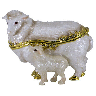 """Bejeweled Enameled Pewter Sheep & Lamb Trinket Box With Crystals 2.75"""" Long New!"""