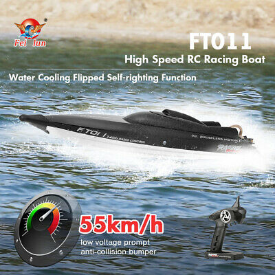 NEW Feilun FT011 RC Boat 2.4G 55km/H Brushless High Speed RC Racing Boat Flipped