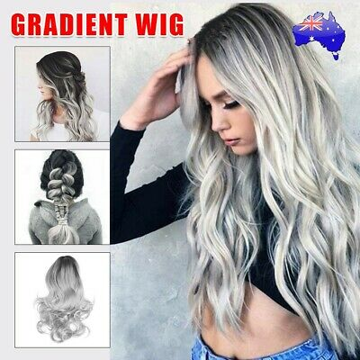 Women Curly Wig Glueless Full Lace Front Wigs Ladies Silver Remy Hair Wavy AU