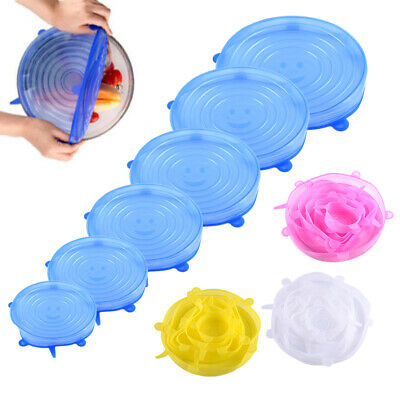 6Pcs Universal Silicone Stretch Suction Pot Lids Kitchen Cover Pan Bowl Stopper