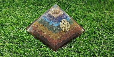 Extra Large Orgone 70-75 Mm Multicolor 7 Chakra Natural Crystal Vajra Pyramid