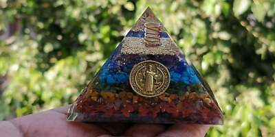 Extra Large 7 Chakra Jesus Orgonite (70-75Mm) Orgone Gemstone Pyramid X-Large