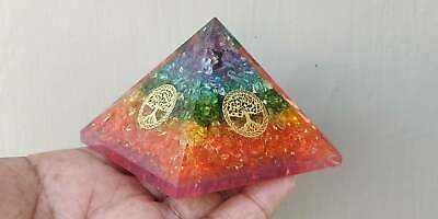 Extra Large 70-75Mm Multi 7 Chakra Orgonite Pyramid Emf Protection Orgone Energy