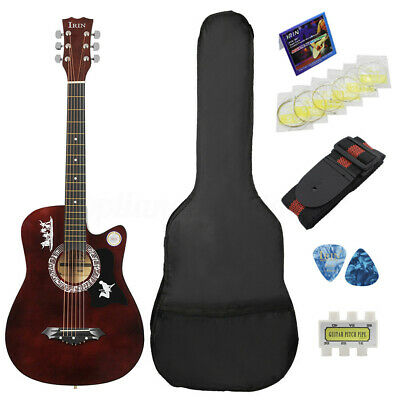 UK 38'' 6 String Wood Acoustic Guitar Beginner with Bag Picks Pitch Pipe