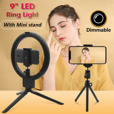 "9"" Dimmable LED Ring Video Light Selfie Camera Makeup Youtube Live + Mini stand"