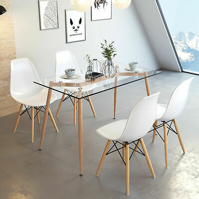 Rectangle Glass Dining Table & 4 Chair Set White Large Tempered Glass Metal Legs