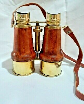 Vintage Binoculars Antique Brass Leather Belt New Decorative Telescope Free Ship