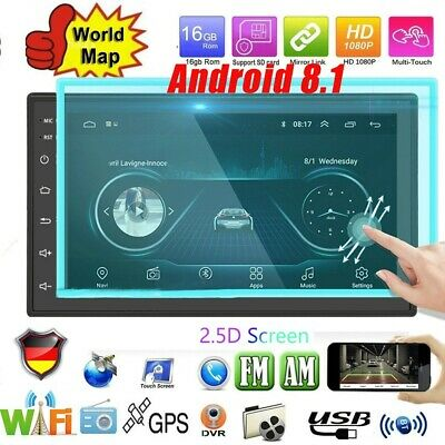 Android 8.1 Autoradio GPS Navi Sat BLUETOOTH WIFI DOPPEL DIN MP2 2.5D Bildschirm