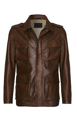 Men's French Style Leather Long Coat Cafe The Hoffman Class Coat Sheep Skin Coat