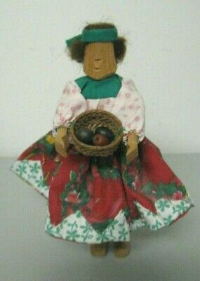 Vintage Folk Art Hand Carved Wooden Fruit Picker Doll Figurine Handmade