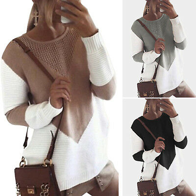 Women Patchwork Knitted Sweater Ladies Winter Long Sleeve Pullover Tops Jumper