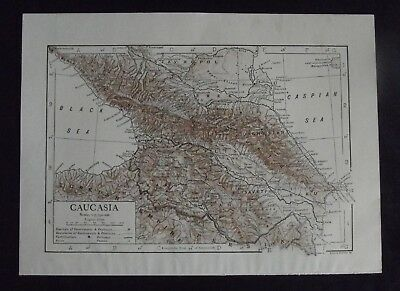 Vintage Maps: Caucasia and Southern Russia by Emery Walker, c 1950s, Bi-colour