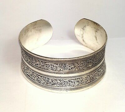 Old Copper Bracelet Silver Plated Vintage Beautiful Special Decoration