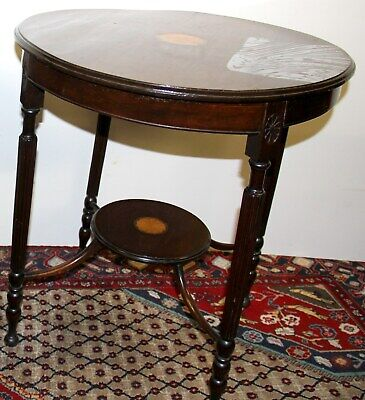 RARE Antique Early 20th C. Edwardian Inlaid Solid Mahogany Side Occasional Table