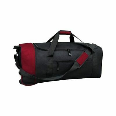 "Travelers Club Unisex  32"" Collapsible Rolling Duffel Black/Red Size OSFA"