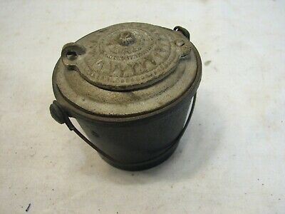 Antique Miniature Cast Iron THE HOME Glue Pot w/Good Luck Swastika Melting