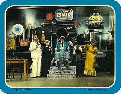 postcard BIG 5.25x6.75 SILVER DOLLAR CITY Amusement Park LIGHTNIN CHAIR