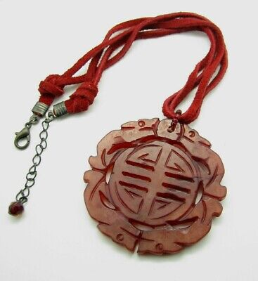 Gorgeous DYED RED JADE Medallion CHINESE PENDANT CIRCLE CARVED Leather NECKLACE
