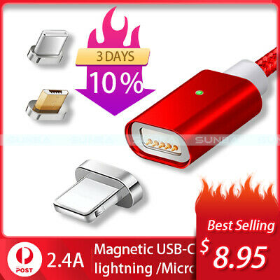 Magnetic Lightning Cable/Micro USB/Type C Charging Charger For iPhone Android