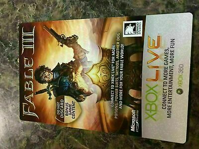 DLC FABLE 3 EXCLUSIVE IN-GAME TATTOO Code Card Microsoft Xbox 360