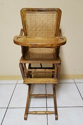 Antique Child's High Chair - Converts to Rocker -Vintage Cane Seat Highchair