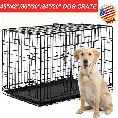 "48""/42""/36""/30""/24""/20"" Pet Kennel Cat Dog Folding Steel Crate Metal Fence Cage"