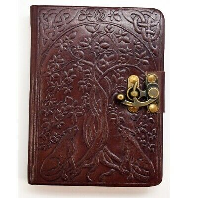 Tree Of Life With Wolves Rounded Edge Leather Embossed Journal New
