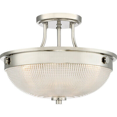 """Quoizel QF3631  3 Light 13"""" Wide Semi-Flush Ceiling Fixture with Holophane Glass"""
