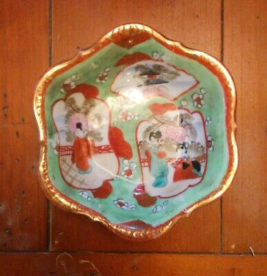 Vtg I E & C CO Japan Hand Painted Bowl/Candy Dish w/Geisha Girls Gold Guild Trim
