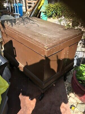 C19 pine blanket box/tool Chest /cabin Trunk On Wheels /industrial Look