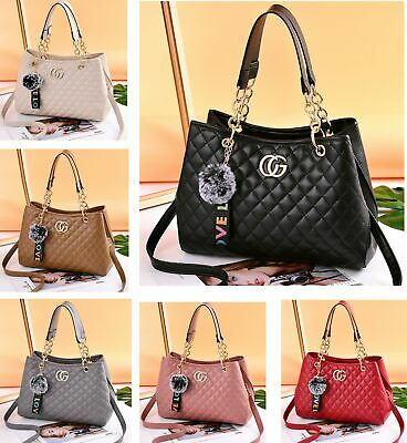 Ladies Fashion Quilted Chain Handbags Women's  Designer Faux Leather Tote Bags