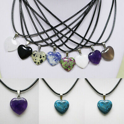 Healing Point Chakra Heart Necklace Natural Stone Quartz Leather Pendants Charms