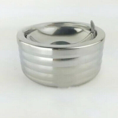 Stainless Steel Modern Tabletop Round Ashtray With Lid Cigarette Ash Holder LC