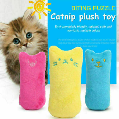 Pet Cat Funny Toy Fancy Interactive Catnip Teeth Grinding Molar Pillow *AU STOCK